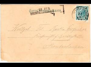 Bayern 1900, Aushilfstempel. FRONTENHAUSEN als Ank.Stpl. auf Österreich-AK