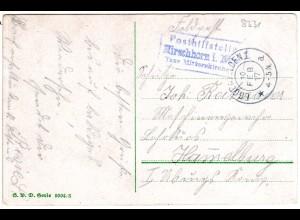 Bayern 1917, Posthilfstelle HIRSCHHORN Taxe Mitterskirchen auf Feldpostkarte