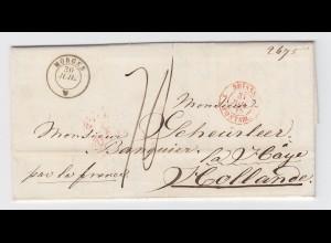 "Schweiz NL 1845, K2 Morges auf Porto Brief nach Holland ""par la France"". #2462"