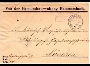 Bayern 1902, Posthilfstelle HIRSCHHORN Taxe Mitterskirchen auf Gemeinde brief