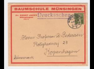 Schweiz 1933, 5 C. auf schönem Drucksache Brief v. Münsingen n. Dänemark. #2460