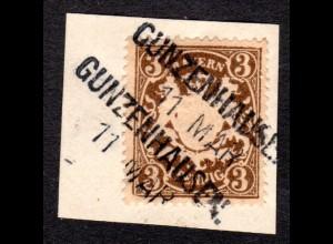 Bayern, Aushilfstempel L2 GUNZENHAUSEN klar auf Briefstück m. 3 Pf.