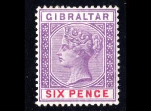 Gibraltar 13, ungebr. 6d violett mit Originalgummi u. Falzresten