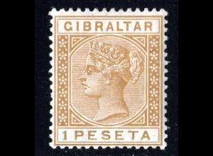Gibraltar 28, ungebr. 1 Pta. hellbraun mit Originalgummi u. sauberem Falz