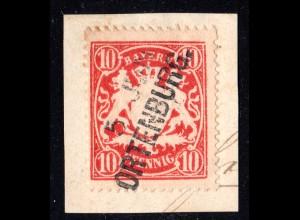 Bayern, L2- Aushilfstempel ORTENBURG klar auf Briefstück m. 10 Pf.