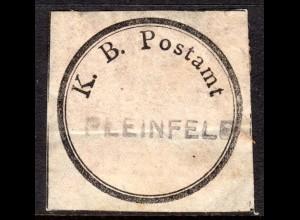 Bayern, Postsiegel K.B. Postamt m. eingestempeltem L1 PLEINFELD