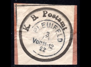 DR, altes Bayern Postsiegel K.B Postamt m. eingestempeltem K1 PLEINFELD
