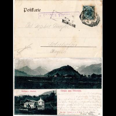 Österreich 1904, Posthilfstelle VORDER THIERSEE auf AK m. Gasthaus n. Bayern