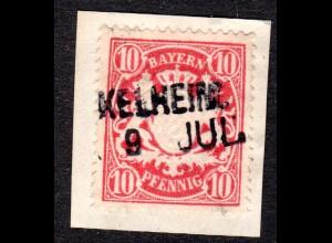 Bayern, L2 Aushilfstempel KELHEIM klar auf Briefstück m. 10 Pf.