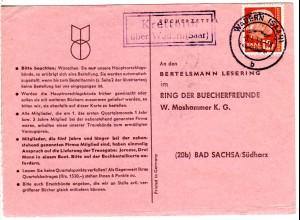 Saarland 1959, Landpost Stpl. KRETTNICH über Wabern auf Karte m. 12 F. Heuss