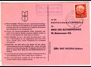 Saarland 1958, Landpost Stpl. WALHAUSEN über Türkismühle auf Karte m. 12 F.
