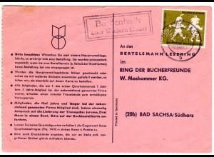 Saarland 1958, Landpost Stpl. BARDENBACH über Wadern auf Karte m. 12 F.