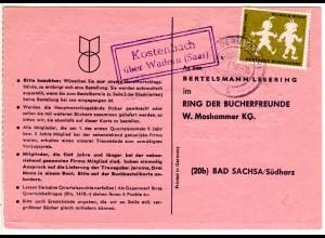 Saarland 1958, Landpost Stpl. KOSTENBACH über Wadern auf Karte m. 12 F.