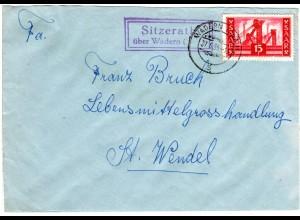 Saarland 1955, Landpost Stpl. SITZERATH über Wadern auf Brief m. 15 F.