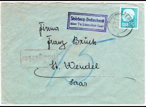 Saarland 1957, Landpost Stpl. STEINBERG-DECKENHARDT auf Nachgebühr-Brief m. 15 F