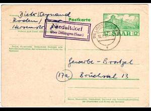 Saarland 1957, Landpost Stpl. NIEDERALTDORF über Dillingen auf 12 F. Ganzsache