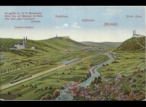 Staffelstein, ungebr. Panorama AK. m Maintal u. Eisenbahn Zug. #611
