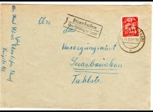 Saarland 1951, Landpost Stpl. ETZENHOFEN über Völklingen auf Brief m. 15 F.