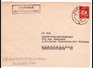 Saarland 1950, Landpost Stpl. LINSLERHOF über Völklingen auf Brief m. 15 F.