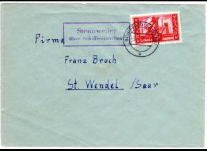 Saarland 1956, Landpost Stpl. STENNWEILER über Schiffweiler auf Brief m. 15 F.