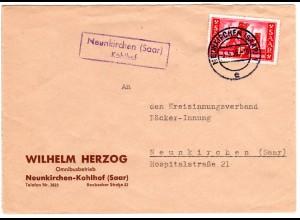 Saarland 1956, Landpost Stpl. NEUNKIRCHEN (Saar) Kohlhof auf Brief m. 15 F.