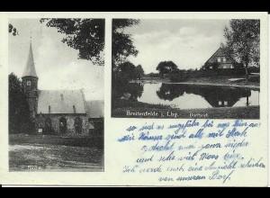 Breitenfelde i. Lauenburg, gebr. sw AK m. Dorfteich u. Kirche. #3102