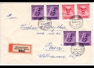 Böhmen u. Mähren 1943, 4x60 H.+2x1,20 Kr. auf Reko Brief v. Hermannstädtel