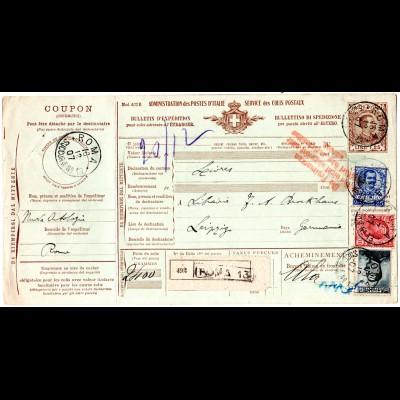 Italien 1907, 10+15+25 C. Zusatzfr. auf 1,25 L. Paketkarte v. Rom n. Deutschland