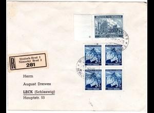 Böhmen u. Mähren 1942, 4x5 H.+4 K. auf Reko Brief v. Deutsch-Brod n. Leck