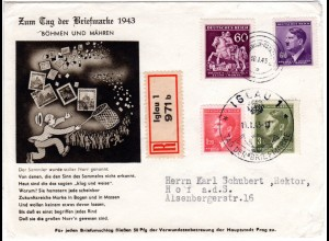 Böhmen u. Mähren 1943, Tag d. Briefmarke Reko Brief v. Iglau