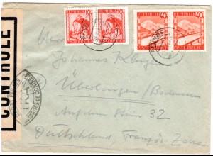 Österreich 1948, je Paar 10+40 G. auf Zensur Brief v. PFUNDS n. Deutschland