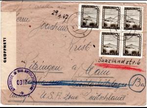 Österreich 1947, MEF 5x12 G. auf Zensur Brief v. GNAS ins Arbeitslager Kitzingen