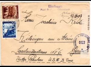Österreich 1947, 20+80 G. auf Brief m. L2 BIERBAUM Post St. Peter/Ottersbach