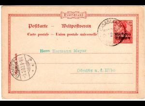 Dt. Post Marokko 1902, 10 Cmos./10 Pf. Ganzsache v. CASABLANCA n. Dömitz