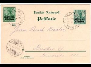 Dt. Post Marokko 1900, 5 C. Zusatzfr. auf 5 C. Ganzsache v. Tanger n. Dresden