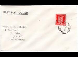 Jersey 1941, 1d auf FDC