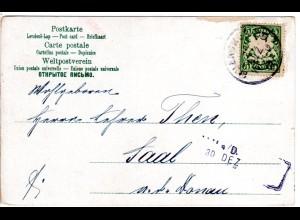 Bayern 1902, L2-Aushilfstpl. SAAL a/D. als Ank.Stpl. auf Karte v. München