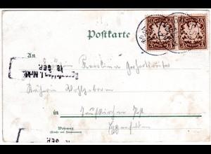 Bayern 1899, L2-Aushilfstpl. EGGENFELDEN als Ank.Stpl. auf Karte v. Grassau