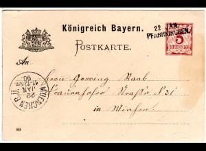 Bayern 1890, L2-Aushilfstpl. PFARRKIRCHEN klar auf 5 Pf. Ganzsache
