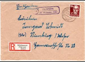 DDR 1949, Landpost Stpl. ZAUNRÖDEN über Mühlhausen auf Reko Brief m. 84 Pf.