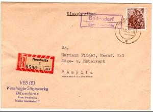 DDR 1961, Landpost Stpl. GODENDORF über Neustrelitz auf Reko Brief m. 70 Pf.
