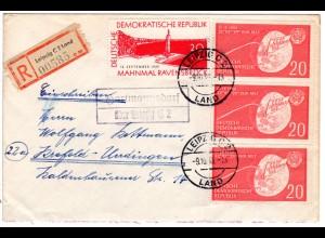 DDR 1959, Landpost Stpl. HARTMANNSDORF über Leipzig auf Reko Brief m. 4x20 Pf.