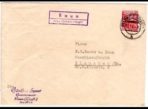 DDR 1961, Landpost Stpl. RAUN Kr. Oelsnitz auf Firmen Brief m. 20 Pf.