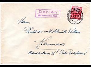 DDR 1955, Landpost Stpl. DAHLEN über Neubrandenburg auf Brief m. 20 Pf.