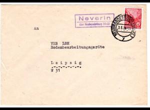 DDR 1955, Landpost Stpl. NEVERIN über Neubrandenburg auf Brief m. 20 Pf.