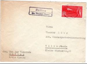 DDR 1958, Landpost Stpl. DÖLLEN über Neustadt (Dosse) auf Brief m. 20 Pf.