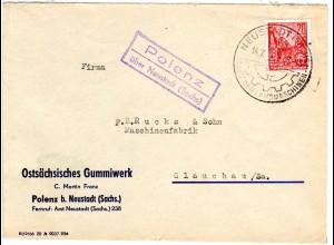 DDR 1958, Landpost Stpl. POLENZ über Neustadt (Sachs) auf Firmen Brief m. 20 Pf.
