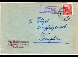 DDR 1957, Landpost Stpl. CARPIN über Neustrelitz auf Firmen Brief m. 20 Pf.