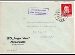 DDR 1956, Landpost Stpl. ALLMENHAUSEN über Sondershausen auf LPG Brief m. 20 Pf.