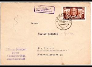 DDR 1954, Landpost Stpl. OBERSPIER über Sondershausen auf Brief m. 20 Pf.